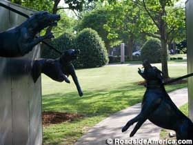 """This sculpture is one of several """"interactive"""" monuments in Kelly Ingram Park, north of the Baptist church where a KKK bomb killed four young African-American girls in 1963."""