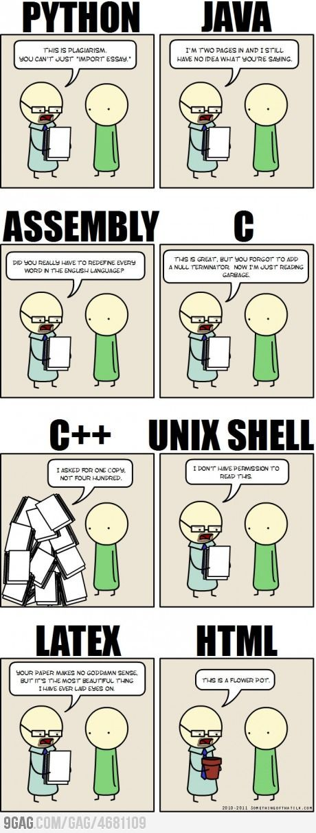 This is the basis in which my programming class is formed. Sad thing is I get these jokes. Nerd life, live it, accept it.