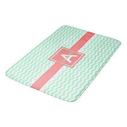 Mint Coral Chevron Bathroom Mat - monogram gifts unique custom diy personalize