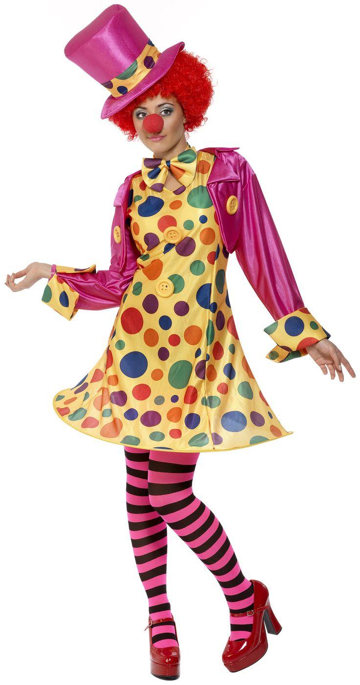 Precioso disfraz de payaso para mujer. Disponible en www.vegaoo.es