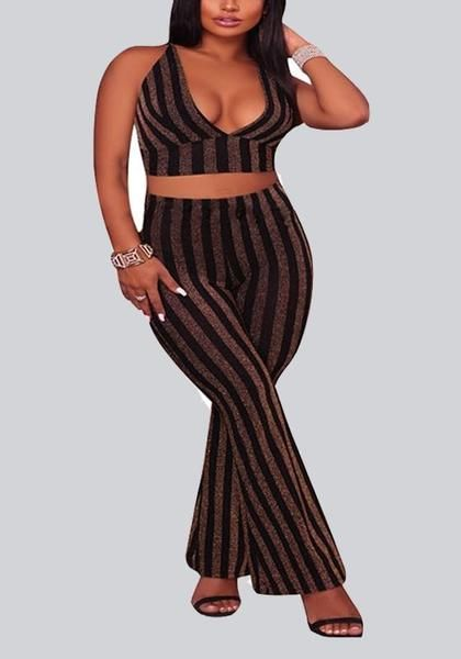 40c0f201830 Black-Golden Striped Cross Back Backless Deep V-neck High Waisted Wide Leg Long  Jumpsuit