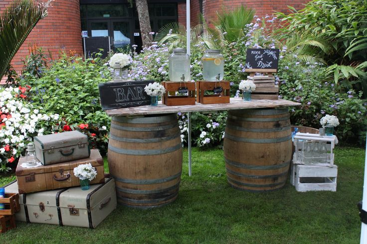 Wine barrel cocktail bar, Styled by VS Events