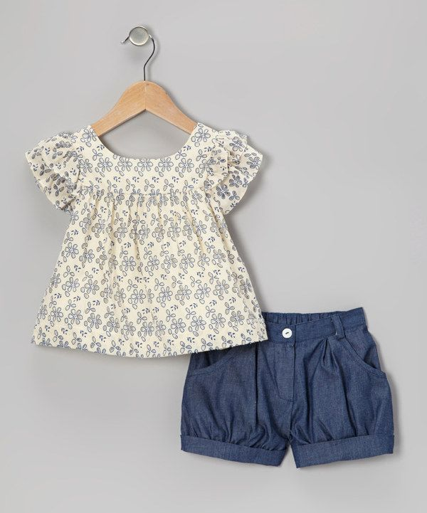 Look at this #zulilyfind! Blue Eyelet Top & Chambray Shorts - Infant, Toddler & Girls by Petit Confection #zulilyfinds