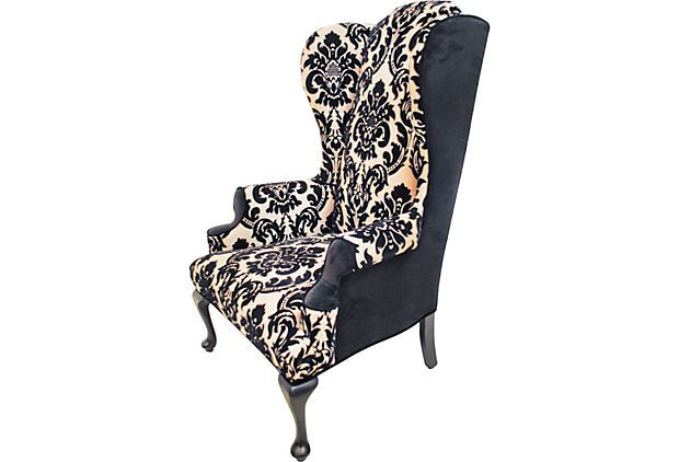 Purple velvet wing back chair one kings lane damask for Cameron tufted chaise