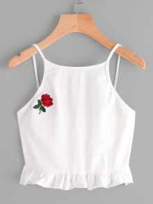 Rose Embroidered Frill Hem Cami Top