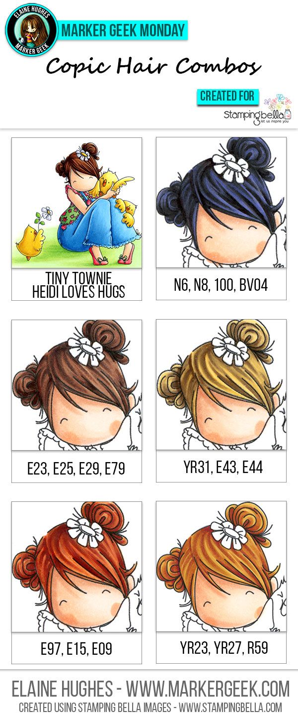 Inspiration for colouring hair on stamped images