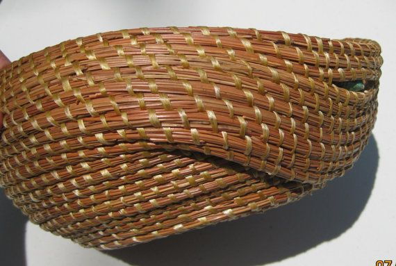 Coiled pine needle basket with dropped side and by Dee22450