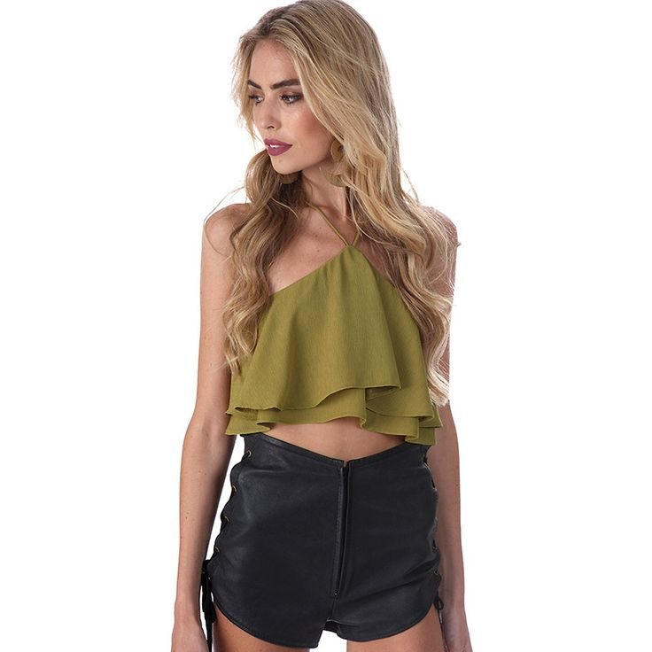 >> Click to Buy << New Arrival Fashion brand women's summer tank tops cropped sexy strapless camis ruffles chiffon tops  #Affiliate