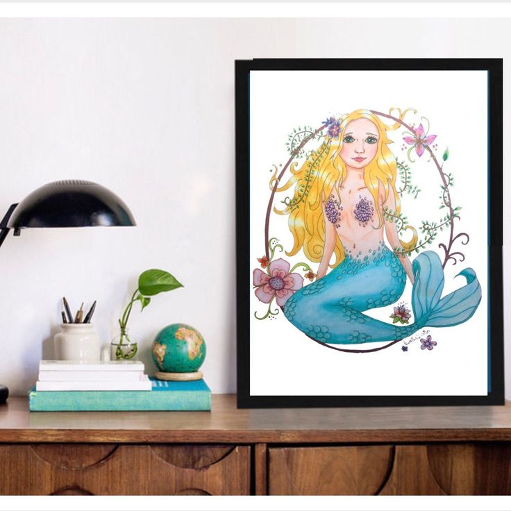 Mermaid print Mermaid home decor. The perfect gift for a Mermaid lover. Make your home a home with this cute Mermaid! She is the copy of a unique print, handdrawn by lumisadesign. Only available in our shop! For more special prints, visit lumisadesign