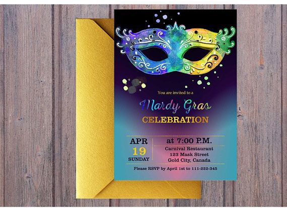 Mardi Gras Invite. Brazil invitation. Watercolor Carnival