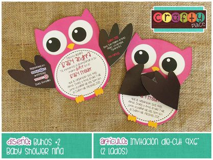 Invitación die-cut de Buhos - Baby shower niña… Podemos personalizarla con cualquier tema! • Owls die-cut invitation - Girl baby shower... We can personalize it with any party theme!