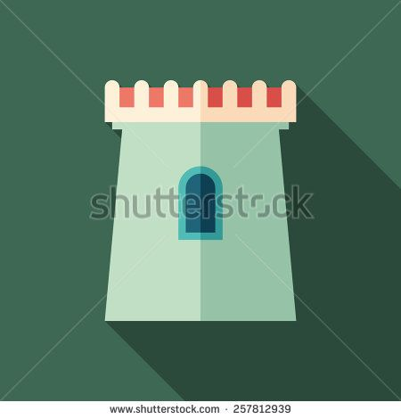 Fortress flat square icon with long shadows. #buildingicon #flaticons #vectoricons #flatdesign