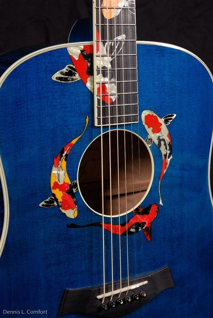 """Taylor Guitars ~ Gallery Series Living Jewel ~ """"Koi"""" this is Taylor swifts custom guitar not huge fan of her but still cool"""