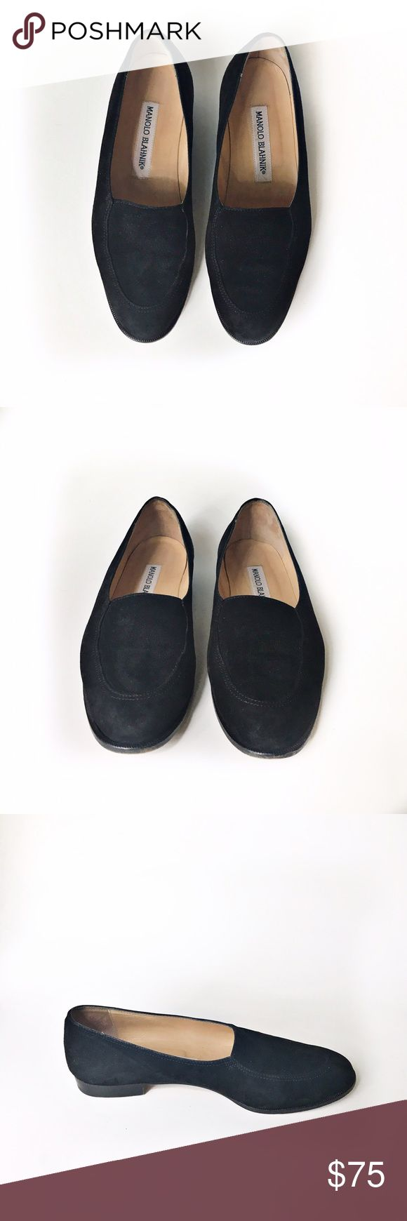 "Manolo Blahnik Black Suede Loafers Gorgeous Manolo Blahnik Black Suede Loafers. Handcrafted. Stacked Heel approximately 0.5"". Lined with smooth leather. Slip-on ease. Euro size 37.5. Made in Italy. 👗👛👠👙👕Bundle & Save! Manolo Blahnik Shoes Flats & Loafers"
