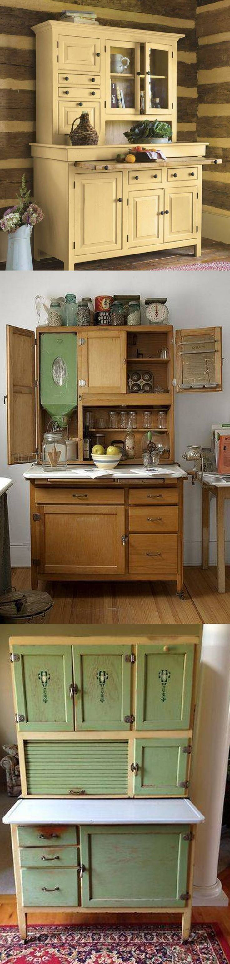 Hoosier cabinets, 1898-1940, were compact, free-standing baking centers with a pull-out porcelain counter, a large tilt-out flour bin with built-in sifter, sugar bin, salt box, spice jars, a tin lined bread drawer, canisters, and utensils drawers. Some had a rack for pots and pans and racks on the insides of the top cabinet doors to display measurement charts or recipe cards. Most had a roll-down tambour door to hide away clutter. Most were made of oak. Some had legs, some were on wheels.