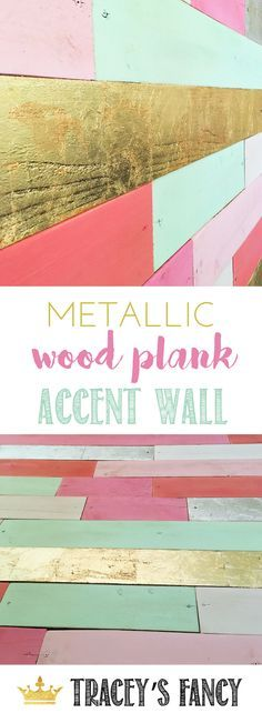 Gorgeous Mint, Pink and Metallic Gold Plank Wall by Tracey's Fancy. Makes a stunning accent wall in a baby nursery or little girls room. Focal Wall + Nursery Decor + Nursery Art + Painted Wood Plank Wall