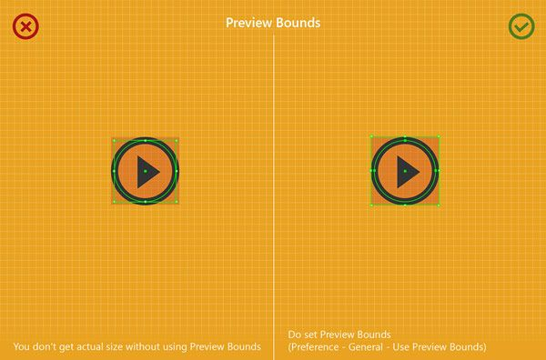 Do set preview bounds. Image from a series of dos and don'ts when creating minimal pixel icons in Adobe Illustrator.