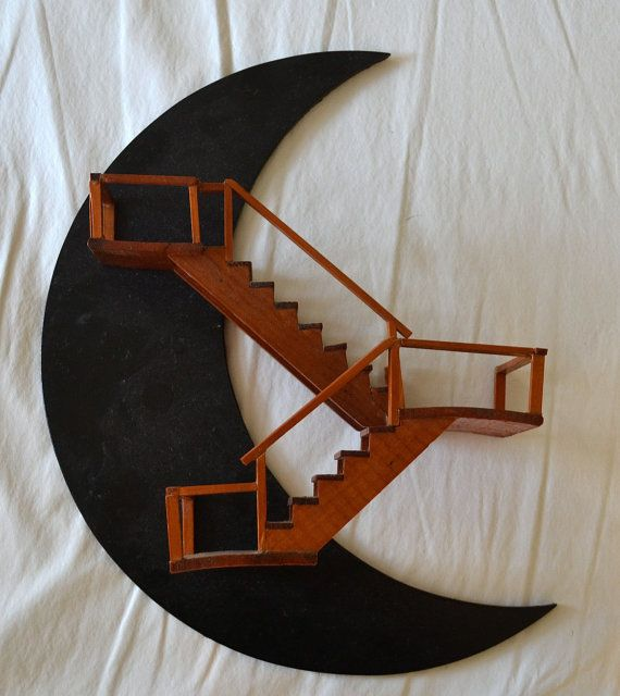 Vintage Half Moon Staircase Wall Shelf Decor Decor