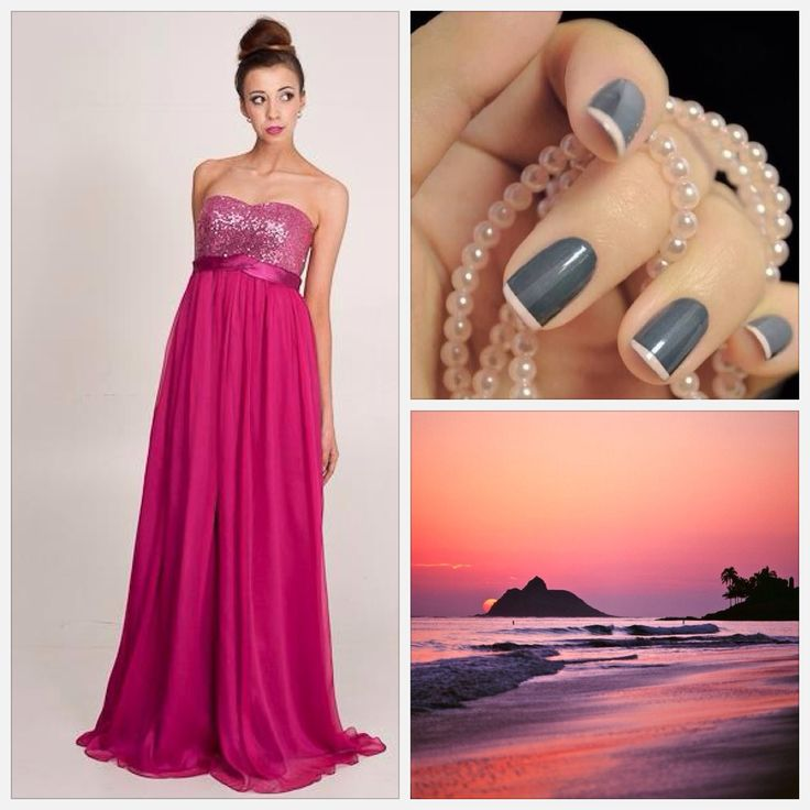 I love the sparkly pink dress, the grey manicure tones it down a little.