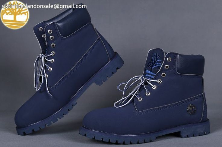 Custom Lace Up Navy Blue 6 Inch Timberland Premium Boots $95.99