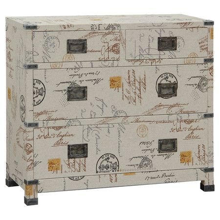 Four-drawer chest with a carte postale motif.   Product: Accent chestConstruction Material: Wood composites, hard...