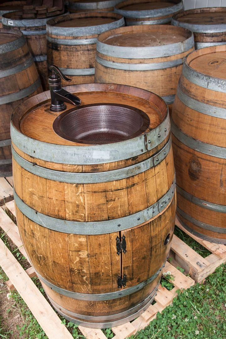 Upcycled wine barrel sink... perfect for rustic bathroom remodels! #upcycled…