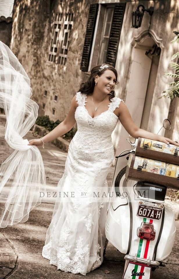 Wedding Photos Wedding Dress Demetrios 1455 Vespa Italian Style Long Veil