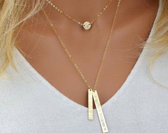 Check out Layered Necklace Gold, Personalized Nameplate Layering Necklace, Tiny Disc Necklace, Layered Name Necklace, Vertical Bar Necklace Gold on malizbijoux
