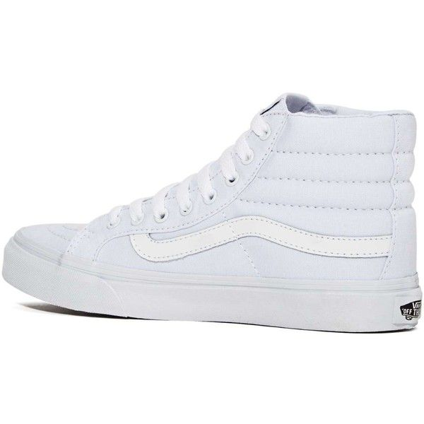 Vans Sk8-Hi Sneaker ($55) ❤ liked on Polyvore featuring shoes, sneakers, white sneakers, high tops, canvas high tops, canvas shoes and white high tops