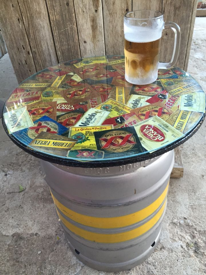 #keg table for the outside. #beerlabels #dosequis