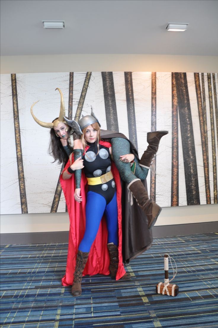 Lady Loki and Lady Thor cosplay