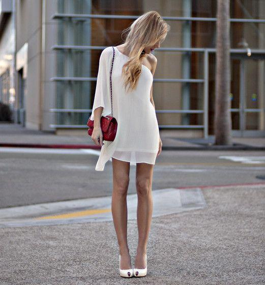 love one shoulders: Summer Dresses, Fashion, Style, Clothing, One Shoulder, Whitedress, The Dresses, Little White Dresses, Rehear Dinners