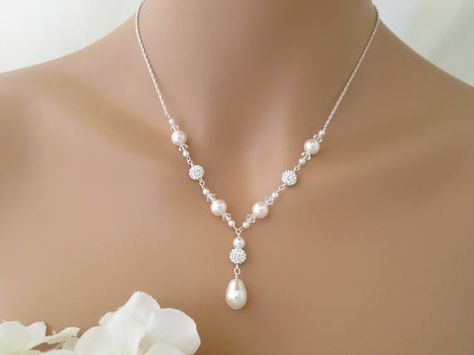 Wedding necklace Swarovski pearl and pave rhinestone
