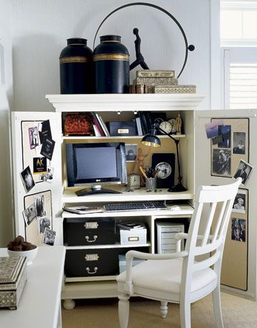 """""""For a functional and easily concealable work space, use an armoire. When guests come by, simply close the doors to hide the clutter.""""  Photo credit: Keith Scott Morton."""