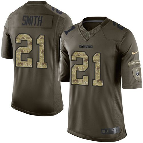 $24.99 Youth Nike Oakland Raiders #21 Sean Smith Elite Green Salute to Service NFL Jersey