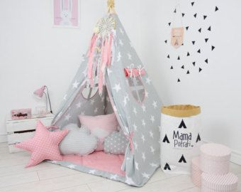 Children's teepee playtent tipi zelt wigwam kids от MamaPotrafi