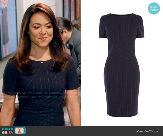 Nina's pinstriped dress on Daytime Divas.  Outfit Details: https://wornontv.net/74632/ #DaytimeDivas