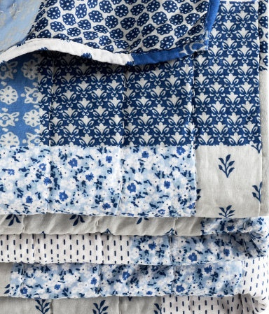 China blue quilted bedspread. China Blue always reminds me of My Grandma in Kansas. <3