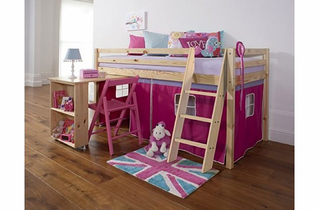 Noa and Nani Mid Sleeper Wooden Pine Bunk Bed, Cabin bed  Desk PINK No description (Barcode EAN = 5060300820376). http://www.comparestoreprices.co.uk/bunk-beds/noa-and-nani-mid-sleeper-wooden-pine-bunk-bed-cabin-bed -desk-pink.asp