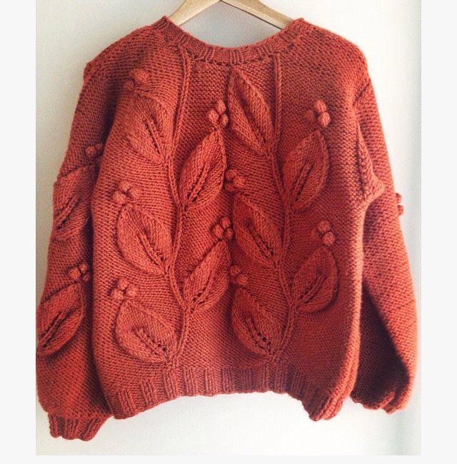 Купить Свитер с объёмными листьями. - свитер, свитер вязаный, свитер женский, свитер спицами