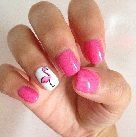 Valentine sweet pink flamingo nail