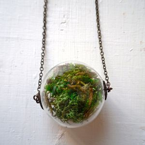 This whole idea of wearing plants as accessories is strange to me. -- Moss Terrarium Necklace