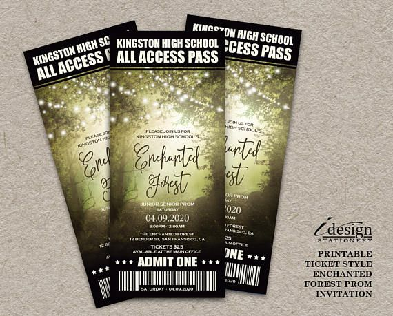 Enchanted Forest Prom Ticket Style Invitations With String