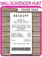 Mall Scavenger Hunt Favor Tags template