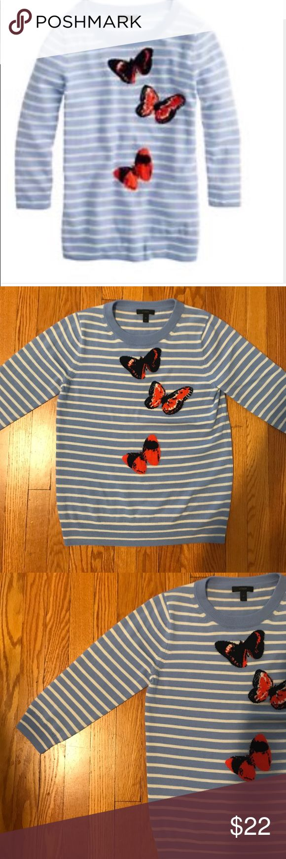 J Crew butterfly Tippi sweater J Crew butterfly Tippi sweater. Size medium. EUC. Light blue with cream stripes and orange and black butterflies J. Crew Sweaters