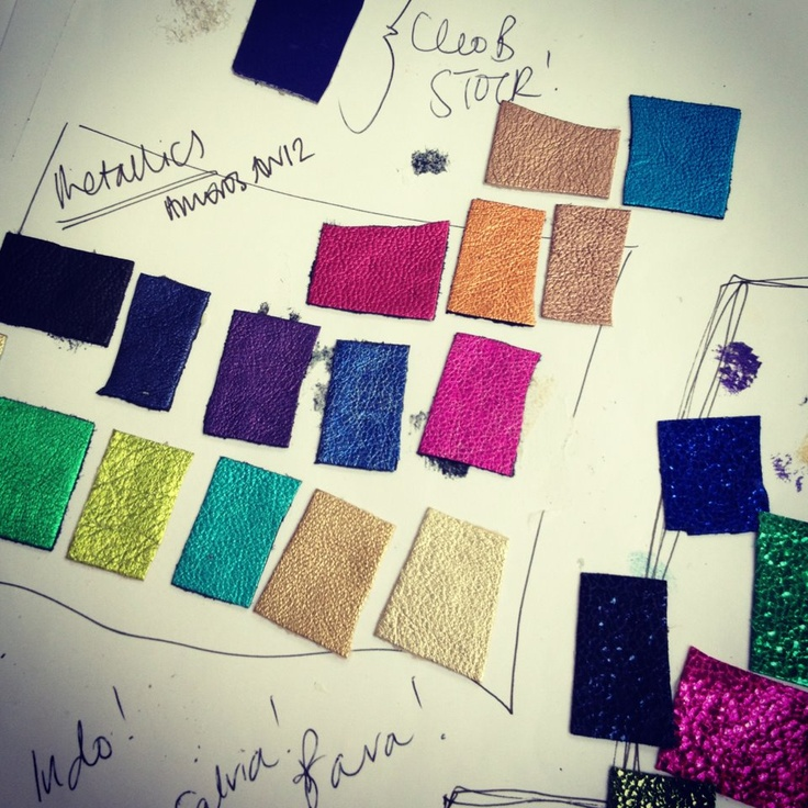 Choosing leathers! What to choose? #leather #samples #colours #pink #turquoise #metallics #shoes #designer #luxury #style #shoes