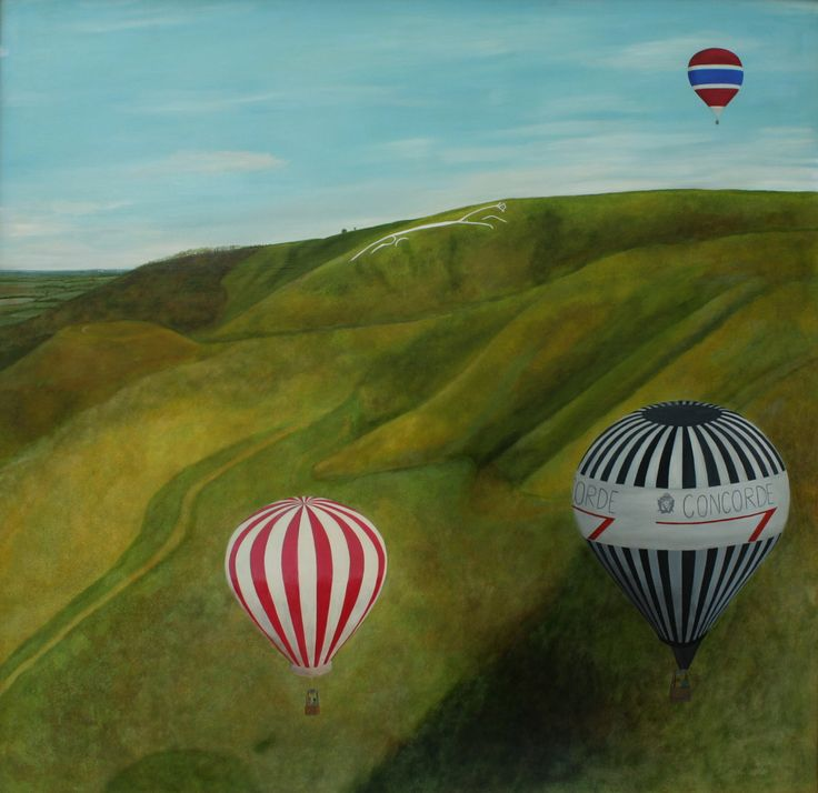 "Contemporary Painting - ""Balloons near Uffington"" (Original Art from Robert Harris)"