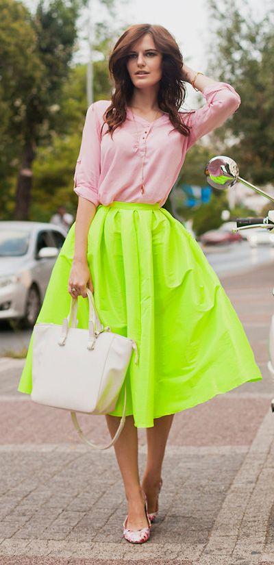 Neon A-line Midi Skirt
