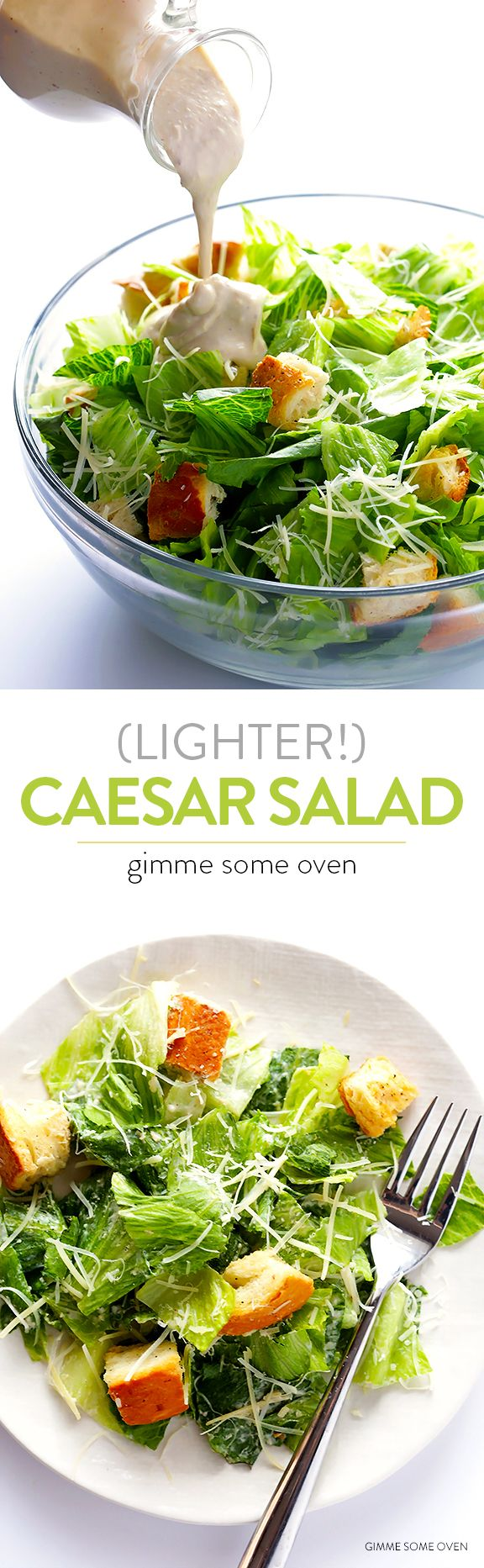 Learn how to lighten up traditional Caesar salad without sacrificing that great creamy taste we all love! | gimmesomeoven.com