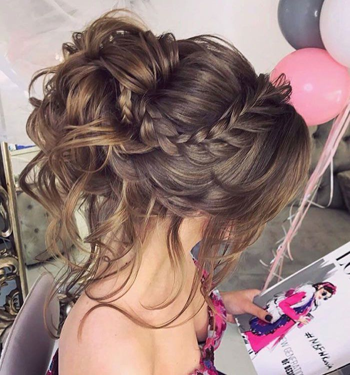 Gorgeous crown braided with messy updo hairstyle inspiration